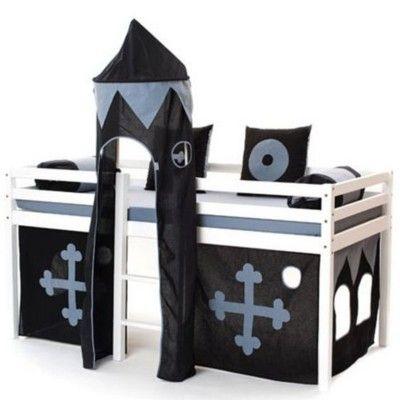 Halvhög kojsäng med sidoskydd, förhänge, stege i mitten och torn, 90x200 - Black magic