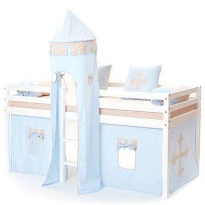 Halvhög kojsäng med sidoskydd, förhänge, stege i mitten och torn, 90x200 - Knight, ljusblå