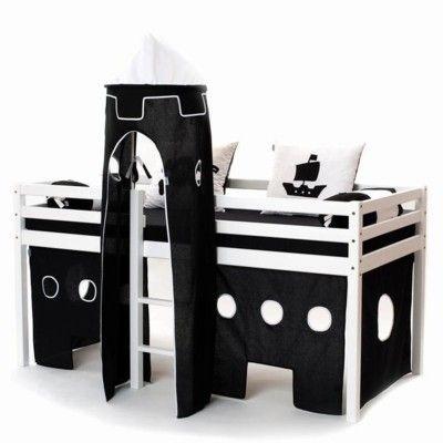 Halvhög kojsäng med sidoskydd, förhänge, stege i mitten och torn, 90x200 - Pirat