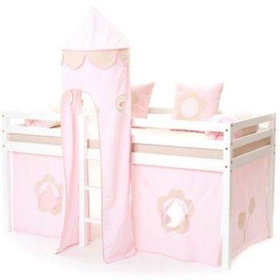 Halvhög kojsäng med sidoskydd, förhänge, stege i mitten och torn, 90x200 - Fairytale, ljusrosa