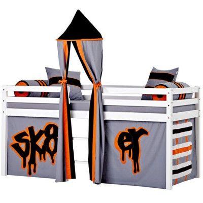 Halvhög kojsäng med sidoskydd, förhänge, stege i mitten och torn, 90x200 - Skate