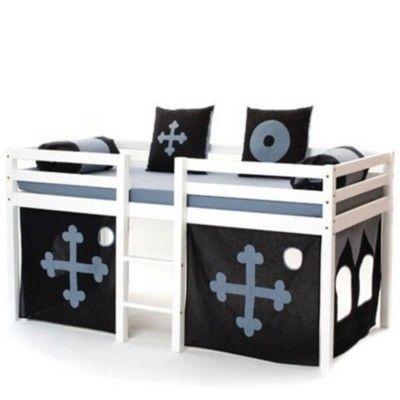 Halvhög kojsäng med sidoskydd, förhänge, stege i mitten, 90x200 - Black magic