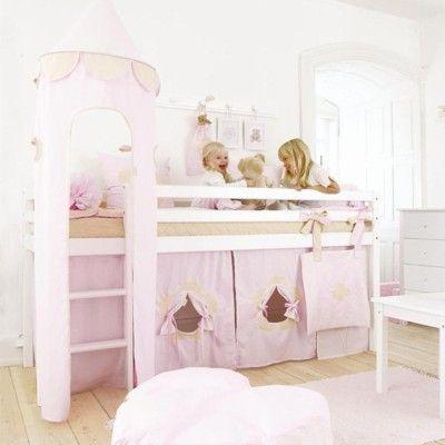Halvhög kojsäng med sidoskydd, förhänge, stege och torn, 90x200 - Fairytale, ljusrosa