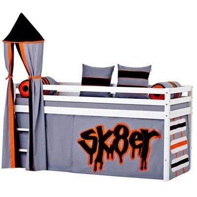 Halvhög kojsäng med sidoskydd, förhänge, stege och torn, 90x200 - Skate
