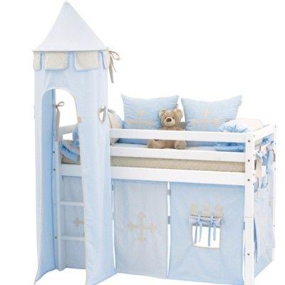 Halvhög kojsäng, junior med förhänge, stege och torn, 70x160 - Knight, ljusblå