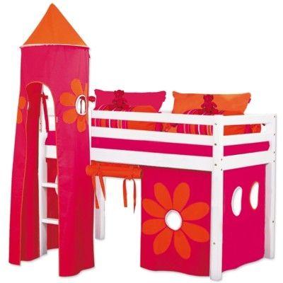 Halvhög kojsäng, junior med förhänge, stege och torn, 70x160 - Flower Power