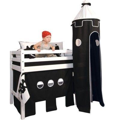 Halvhög kojsäng, junior med förhänge,stege och torn, 70x160 - Pirat