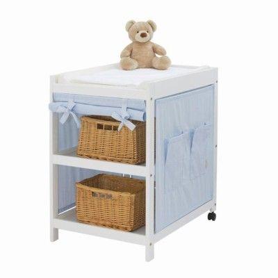 Skötbord med skötkudde och textil - ljusblå