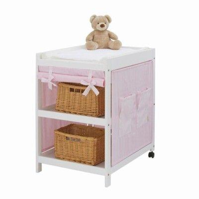 Skötbord med skötkudde och textil - rosa