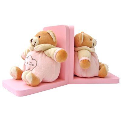 Rosa bokstöd med mjuka nallar