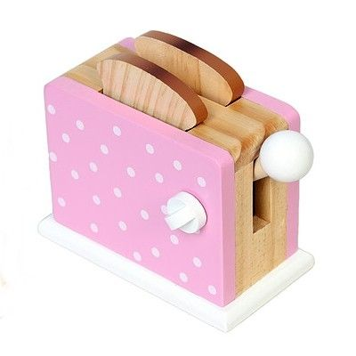 Leksaksmat - Brödrost i trä - rosa med prickar - Magni