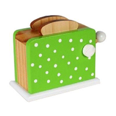 Leksaksmat - Brödrost i trä - grön med prickar - Magni