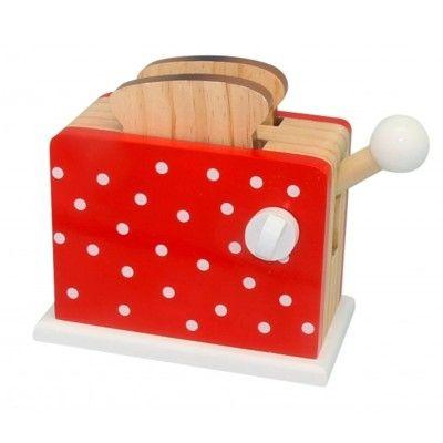 Leksaksmat - Brödrost i trä - röd med prickar - Magni