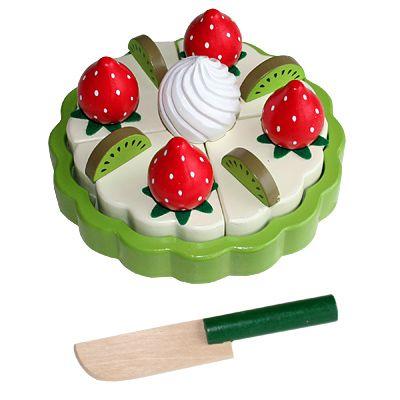 Leksaksmat - Tårta i trä - kiwi och jordgubbar - Magni
