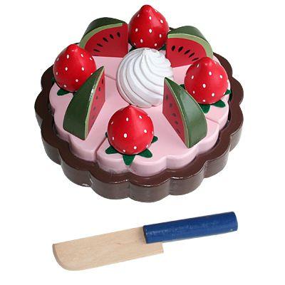 Leksaksmat - Tårta i trä - melon och jordgubbar - Magni