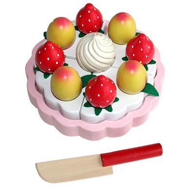 Leksaksmat - Tårta i trä - aprikoser och jordgubbar - Magni