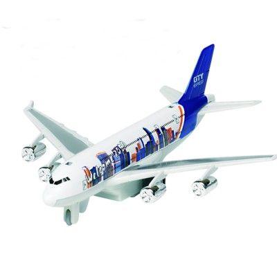 Flygplan i metall - med ljud och ljus - vitt och blått
