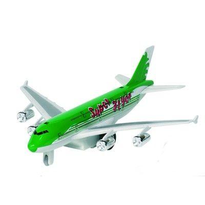 Flygplan i metall - med ljud och ljus - grön
