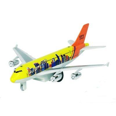 Flygplan i metall - med ljud och ljus - gul
