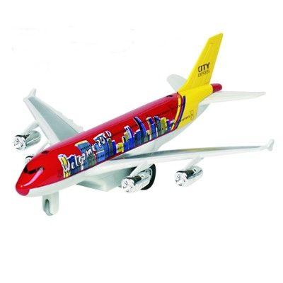 Flygplan i metall - med ljud och ljus - röd
