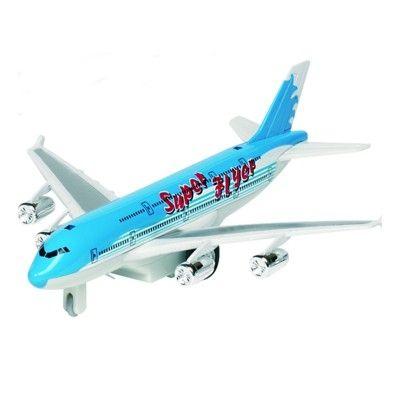 Flygplan i metall - med ljud och ljus - turkos
