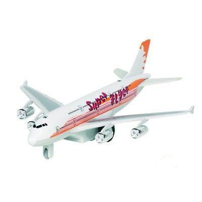 Flygplan i metall - med ljud och ljus - vitt och orange
