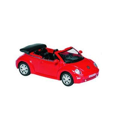 Bil i metall - VW Beetle Cabriolet - röd