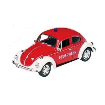 Bil i metall - Volkswagen Beetle - röd brandbil
