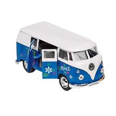 Bil i metall - VW Classical Bus - hippie, blå