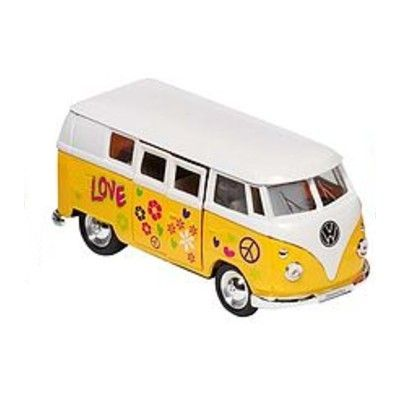 Bil i metall - VW Classical Bus - hippie, gul