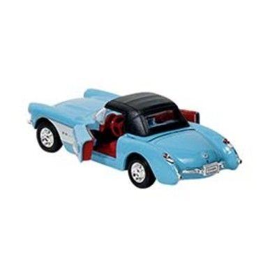 Bil i metall - Chevrolet Corvette - blå med tak (1957)