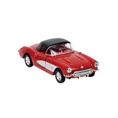 Bil i metall - Chevrolet Corvette - röd med tak (1957)