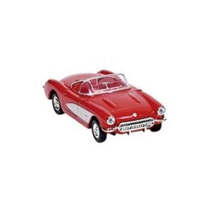 Bil i metall - Chevrolet Corvette - röd utan tak (1957)