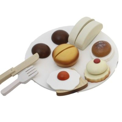 Leksaksmat - Frukosttallrik i trä - vit - Magni