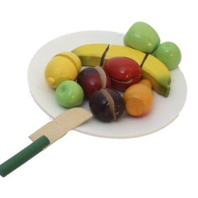 Leksaksmat - Frukttallrik i trä - ljusblå - Magni