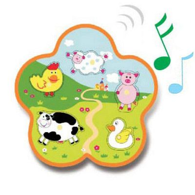 Knopp-pussel med ljud - bondgårdsdjur