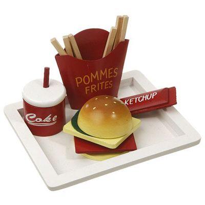 Träbricka med hamburger meal