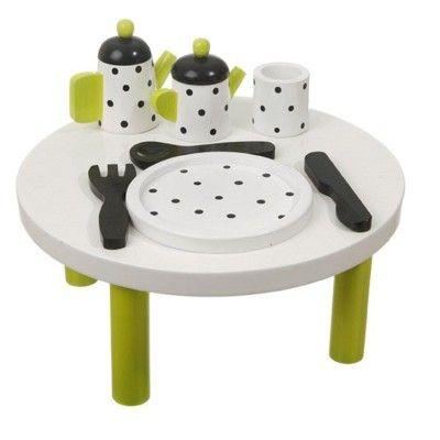 Lekbord med servis i trä