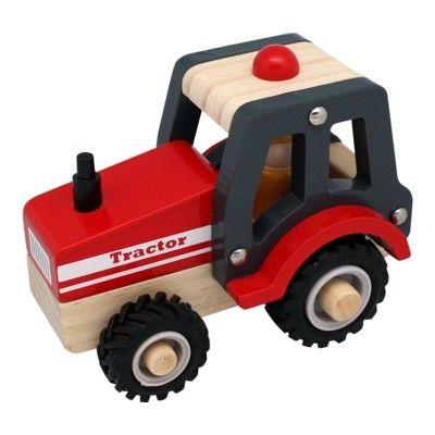 Traktor i trä med gummihjul - Magni