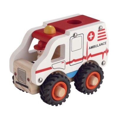 Ambulans trä med gummihjul - Magni