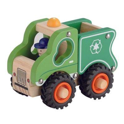 Sopbil trä med gummihjul - grön - Magni
