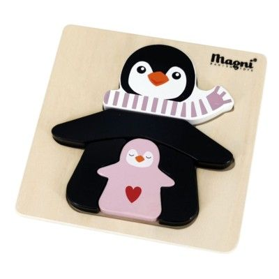 Pussel - Pingvin, rosa - 5 bitar - Magni