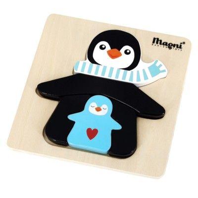 Pussel - Pingvin, turkos - 5 bitar - Magni