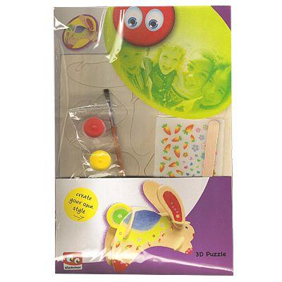 3D-pussel - bygg och måla själv - kanin
