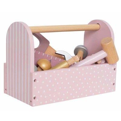 Verktygslåda med verktyg i trä - rosa - Jabadabado