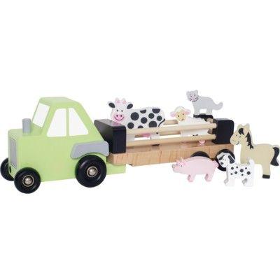 Traktor i trä med 6 djur - bondgård - Jabadabado