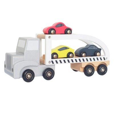 Lastbil i trä med 3 sportbilar - Jabadabado
