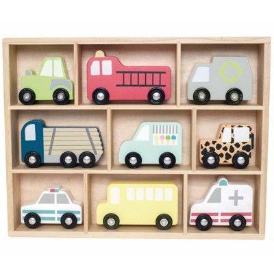 Hylla med träbilar - 9 bilar - Jabadabado