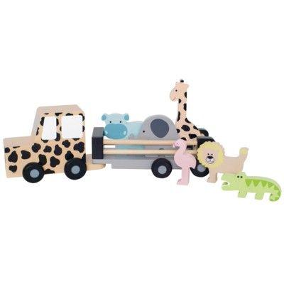 Lastbil i trä med 6 djur - Safari - Jabadabado