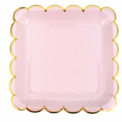 Papptallrik - rosa och guld - Jabadabado